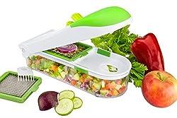 Gemüseschneider Set Quickpush 3in1 - Schneider Zum Einfachen Und Schnellen Hacken Und Würfeln Von Gemüse – Kartoffel/Karotten/Zwiebelschneider - Ideal Zum Zerteilen Von Obst und Käse, Mit 3 Klingen