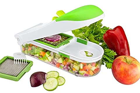QuickPush Food Chopper Onion Chopper Vegetable Slicer Dicer Fruit and Cheese Cutter 3 In 1 Container Safe Blades & Cleaner -By
