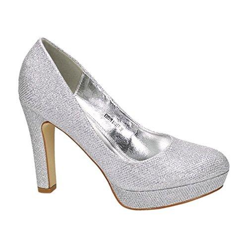 Klassische Damen Glitzer Pumps Stilettos High Heels Plateau Abend Schuhe Bequem 315 (39, Silber)
