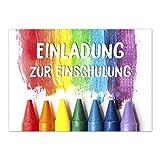 12 Einladungskarten Einschulung mit Umschlag/Regenbogenstifte/Einladung 1. Schultag in der Schule/2-seitige Karte