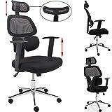 Chaise de bureau Siège fauteuil rembourré noir ajustable - avec...