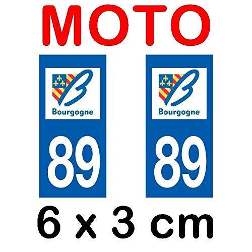 Autocollant plaque immatriculation moto dpt 89 Yonne