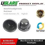 #7: UGLARE - 75mm Pair of Car Headlight Dust Cover Rubber Waterproof Dustproof Sealing