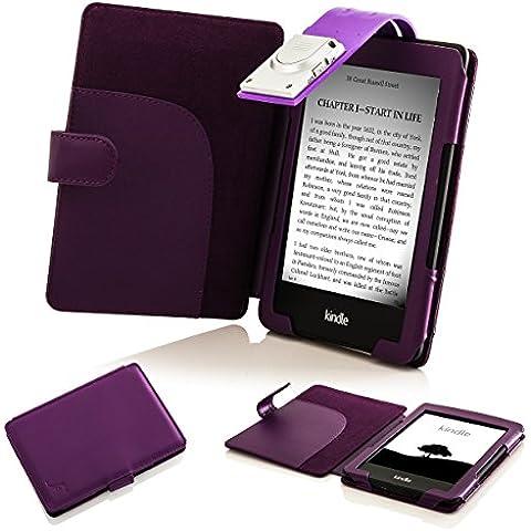 Forefront Cases® Nuevo E-reader Kindle, pantalla táctil antirreflejos de 6'' (15,2 cm) (July el año 2016 - 8ª Generación) Funda Carcasa Stand Case Cover Protectora Plegable de Cuero con la luz LED de