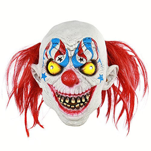 Wongfon Latex Clown Maske Böse für Erwachsene Kinder Horror Requisiten Halloween Kostüme Gruselige Party Circus Outfit