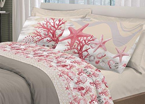 Biancheriaweb completo lenzuola in 100% cotone disegno marina matrimoniale rosso