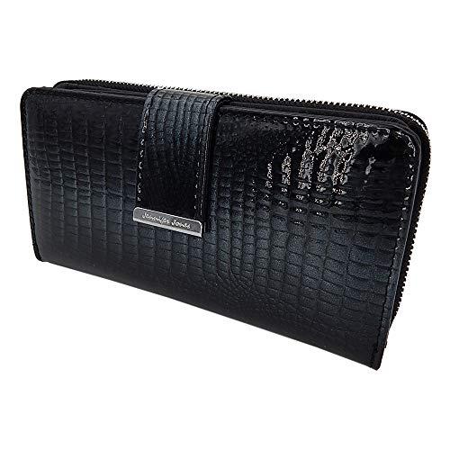 Elegante stilvolle Damen Geldbörse Portemonnaie aus hochwertigem Echtleder Lack Kroko-Design im Querformat (Schwarz-Glitzer) -