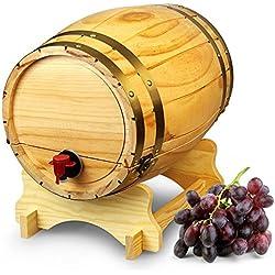 Dispensador de barril de vino de madera pino natural (10L, Estilo Vintage Mesa Dispensador de vino