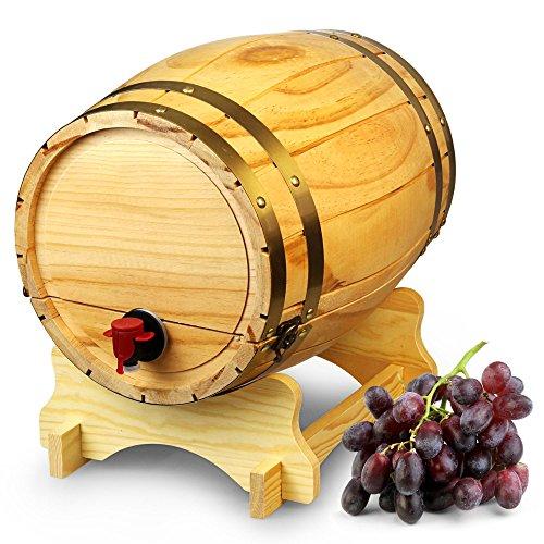 Holz Weinfass Spender Kiefer Natur 10Liter?Vintage Stil Tabletop Wein Spender
