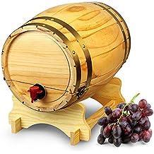 Dispensador de barril de vino de madera pino natural (10 L, Estilo Vintage Mesa