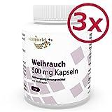 Pack de 3 Boswellia Olíbano 500mg 3 x 120 Cápsulas Vita World Farmacia Alemania - Salai Guggal - Boswellia Serrata - Ácido Boswellico -