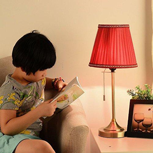 Amerikanische Bronze Metal Study Room Schreibtisch Lights mit Switch Europäischen Schlafzimmer Kopfenden Hundert plissierten Stoff Lampenschirm Tischleuchte (rot)
