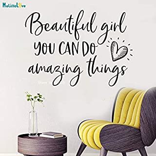 Beautiful Girl You Can Do Amazing Things Wall Sticker Teen Home Decoration Woman Room Removable Vinyl Decals Removable YT L 79x56cm