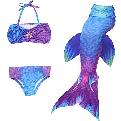 Das Beste Mädchen Meerjungfrauen Bikini Kostüm Meerjungfrau Schwimmanzug Badeanzüge Tankini, Farbe: Türkis, Gr. 140