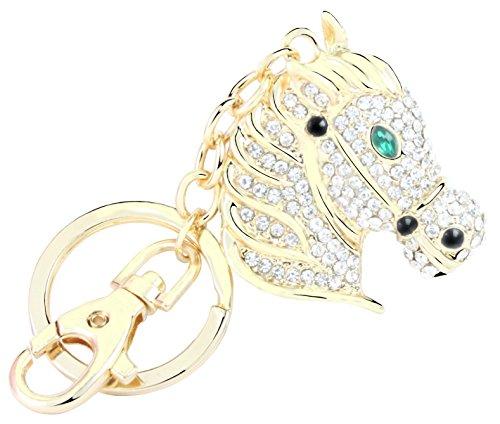 QUADIVA Bag Charm Pferd Taschenanhänger für Damen (Farbe: Gold/grün/schwarz) mit Kristallen besetzt