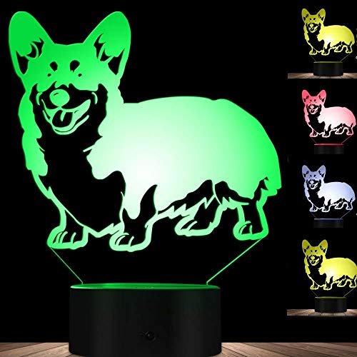3D LED Lampen Corky Dog optische Täuschung Nachtlicht 7 Farben Kontakt Kunst Skulptur Lichter mit USB-Kabeln Lampendekoration Schlafzimmer Schreibtisch Tisch für Kinder Erwachsene