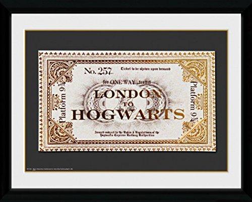 1art1 79780 Harry Potter - Fahrkarte London Nach Hogwarts Gerahmtes Poster Für Fans Und Sammler 40 x 30 cm