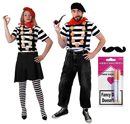 ILOVEFANCYDRESS PANOMIMEN Paar French Zirkus Paare KOSTÜM VERKLEIDUNG Fasching Karneval =16 TEILIG=Tshirt - Mime Paar Kostüm