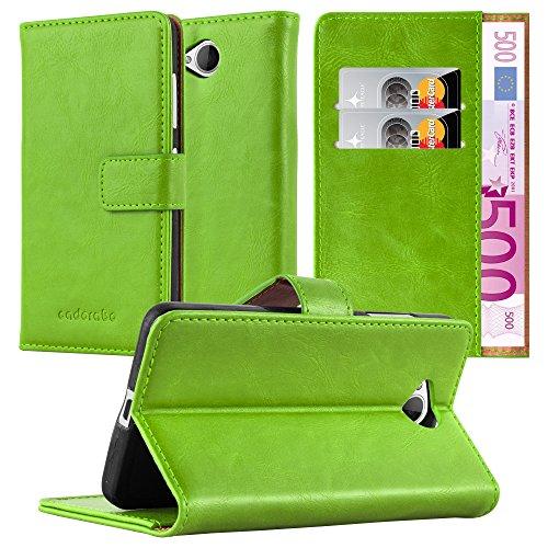Cadorabo Hülle für Nokia Lumia 650 - Hülle in Gras GRÜN – Handyhülle im Luxury Design mit Kartenfach und Standfunktion - Case Cover Schutzhülle Etui Tasche Book