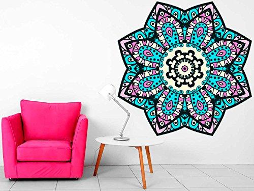 Vinilo Decorativo Pared Mandala Floral | Varias Medidas 100x100cm | Multicolor | Pegatina Adhesiva Decorativa de Diseño Elegante