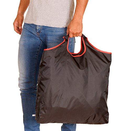 gripONE XXL Shopper red - große, Faltbare Einkaufstasche aus hochwertiger Fallschirmseide, dadurch extrem robust, leicht und kompakt
