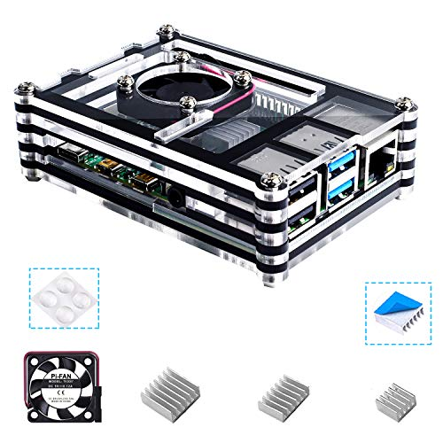 Bruphny Box for Raspberry Pi 4, Box Fan + 3 × Sink for Raspberry Pi 4 model B (Excludes Plate Raspberry Pi)