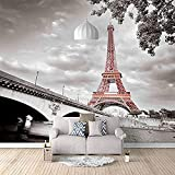 Affiche de décoration murale murale non tissée de papier peint de tour de Paris Papier Peint 3D Faux Cuir Vinyle Mural-300cm×210cm