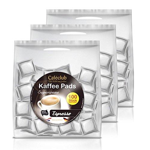 3x Cafeclub Espresso Kaffeepads Megabeutel je 100 stk. dunkle Röstung einzeln verpackt