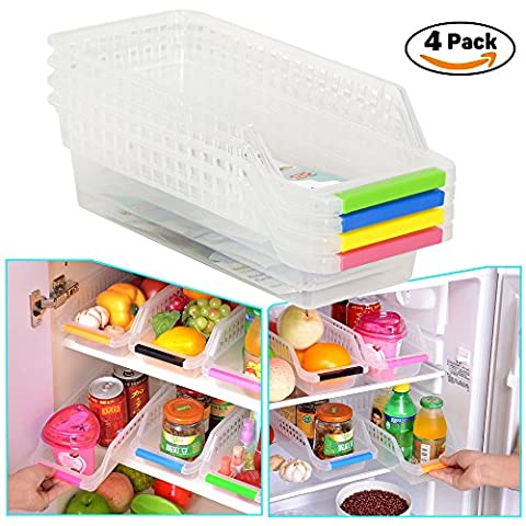 CrazySell Refrigerator Durable Storage Organizer Fruit Handled Kitchen Collecting Box Basket Rack Stand Basket Container (4Pcs) by CrazySell