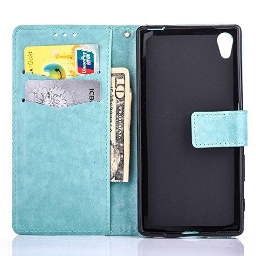 Hülle für Sony Xperia XA Ultra, Tasche für Sony Xperia XA Ultra, Case Cover für Sony Xperia XA Ultra, ISAKEN Farbig Blank Muster Folio PU Leder Flip Cover Brieftasche Geldbörse Wallet Case Ledertasche Blank Einfarbig Grün