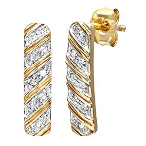 Naava 9 ct Yellow Gold Women's 5 pt Diamond Earrings