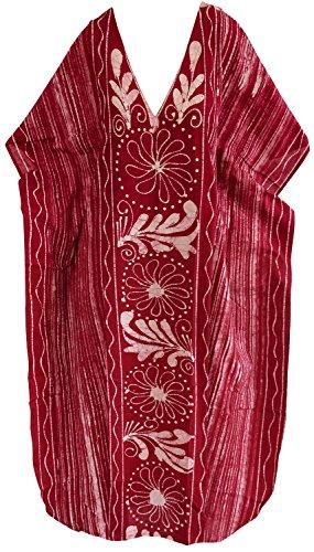 La Leela robe de vêtements de nuit pour femmes lâche 100% beachwear de coton à long kimono caftan casual Rouge