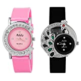 Addic Combo Of 2 Analogue White Dial Women's Watch-Cw744
