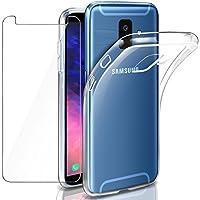 """Leathlux Funda + Cristal para Galaxy A6 2018, Transparente TPU Silicona [Funda+Vidrio Templado] Protector de Pantalla 9H Dureza HD Flexible Case Cover para Samsung Galaxy A6 (2018) - 5.6"""""""