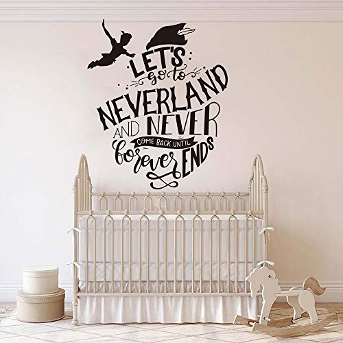 Lets Go to Neverland Quote Wandtattoo Kinderzimmer Inspirational Quote Tinkerbell Wandaufkleber Kinderzimmer Vinylkunst 68cmhighx56cmwide ()