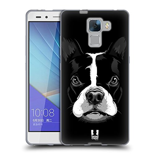 Head Case Designs Boston Terrier Grosses Illustrierte Gesicht 2 Soft Gel Hülle für Huawei Honor 7 (Bull Terrier Phone Case)