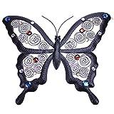Deko Schmetterling Metall schwarz mit bunten Steinen Wandschmuck Wanddeko Gartendeko