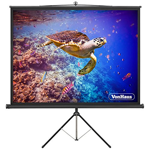 VonHaus 67-Inch Projector Screen with Tripod Stand   Adjustable Height   (W) 120 x (H) 120 cm   1:1 Aspect Ratio Matte White
