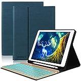 Tastatur Hülle für ipad 2018, ipad 2017, ipad Pro 9.7, ipad Air 1, ipad Air 2-7 Farben Hinterleuchtet- QWERTZ Tastatur- Stifthalter- Magnetisch Schlaf/Wach- iPad Hülle mit Tastatur - Dunkelblau