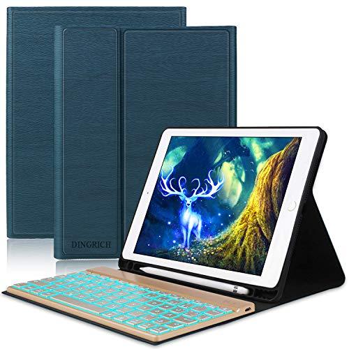 Tastatur Hülle für ipad 2018, ipad 2017, ipad Pro 9.7, ipad Air 1, ipad Air 2-7 Farben Hinterleuchtet- QWERTZ Tastatur- Stifthalter- Magnetisch Schlaf/Wach- iPad Hülle mit Tastatur - Dunkelblau...