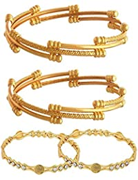 YouBella Fashion Jewellery Traditional Combo of Gold Plated Bracelet Bangles Set for Girls and Women