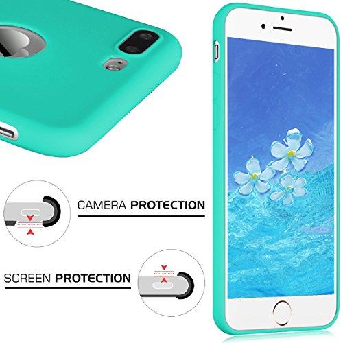 Apple iphone 7 Plus Coque Protection écran Soft Case silicone flexible TPU en silicone flexible Housse de protection en silicone antidérapante Slim Fit avec couleur Candy Solaxi - Noir Bleu