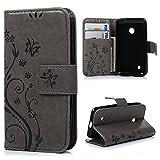 MAXFE.CO Lederhülle Leder Tasche Case Cover für Nokia Lumia 530 N530 Hülle PU Schutz Etui Schale Gray Backcover Flip Cover Wallet mit Standfunktion Karteneinschub und Magnetverschluß Etui