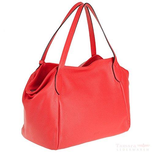 abro+ Adria 027527-37 Damen Leder Henkeltasche 32x17x26cm poppy-red