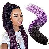 TESS Braids Extensions Ombre Twist Crochet Braiding Hair Extensions Kunsthaar 30 Strähnen/Packung 100g Glatt Haarteile Synthetik Haarverlängerung 24'(60cm) Schwarz/Lila