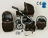 Kombikinderwagen Schokolade und Weiß 3in 1mit Kinderwagen + Babyschale + Autositz + Wickeltasche + Gratis Sonnenschirm