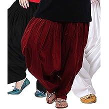Bottomline Women's Cotton Patiala Salwar Combo (_Black, Maroon and White_Free Size)