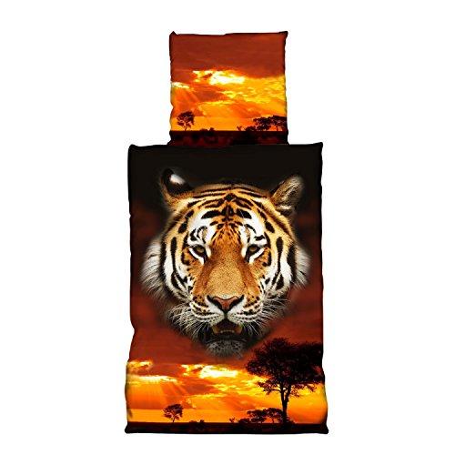 Tiger-Bettwäsche Mystic Rot Schwarz 2tlg 100% Baumwolle Renforcé Tigerkopf im Sonnenuntergang in der Savanne