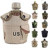 Nosotros militar taza, hapin 3-in-1eléctrica de camuflaje al aire libre Wild Kit de supervivencia para contenedor de Potable 1L botella de agua cantimplora con cubierta y Aluminio taza, Color #7