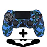 PlayStation 4 Controller Silikonhülle + Bonus LED Sticker | Sony PS4 Schutz Hülle Pad Case | Für eine coole Optik, besseren Schutz & mehr Spaß beim spielen |Für PS Pro & PS Slim Pad geeignet |Blau